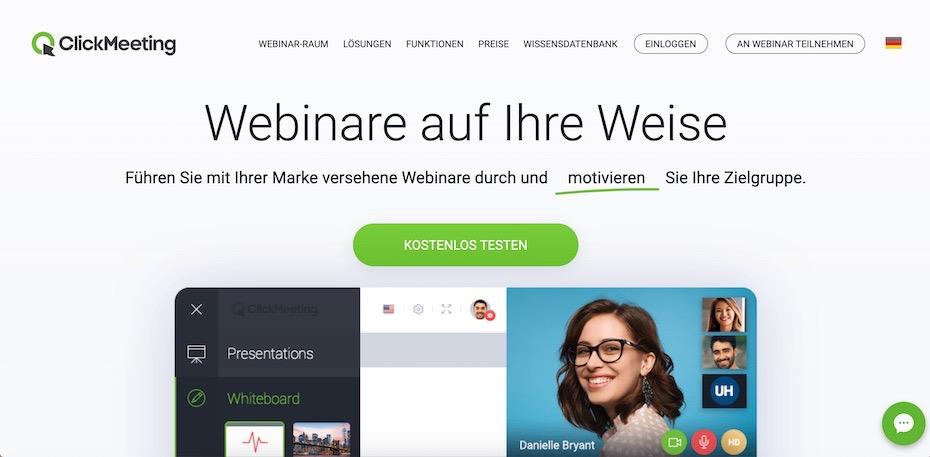 ClickMeeting - Webinar-Software - kompetente Webinare halten